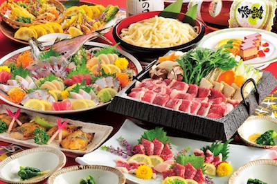 郷土料理と阿蘇あか牛のすき焼き